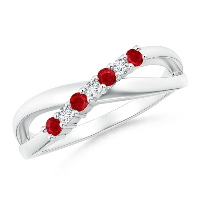 Angara Solitaire Pear Ruby Crossover Shank Ring with Diamond in 14k White Gold gYGGBkh