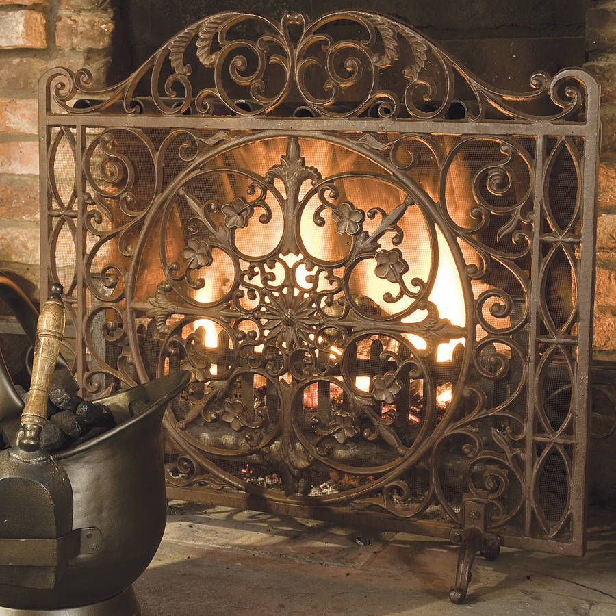 Antique Style Ornate Fire Screen Fireplace Accessories