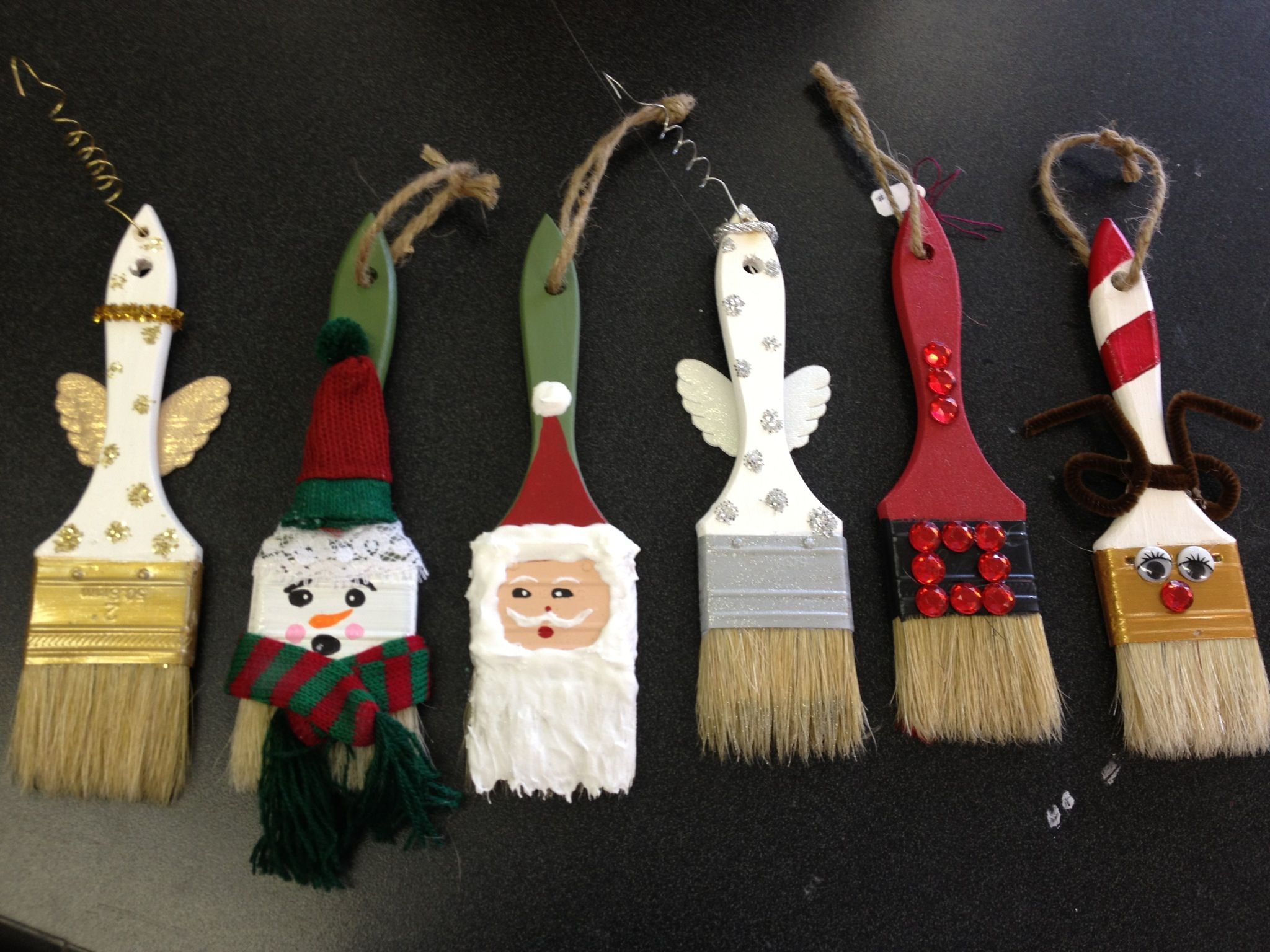 Hand Painted Paint Brush Ornaments Christmas Ornament Crafts Christmas Crafts Xmas Crafts