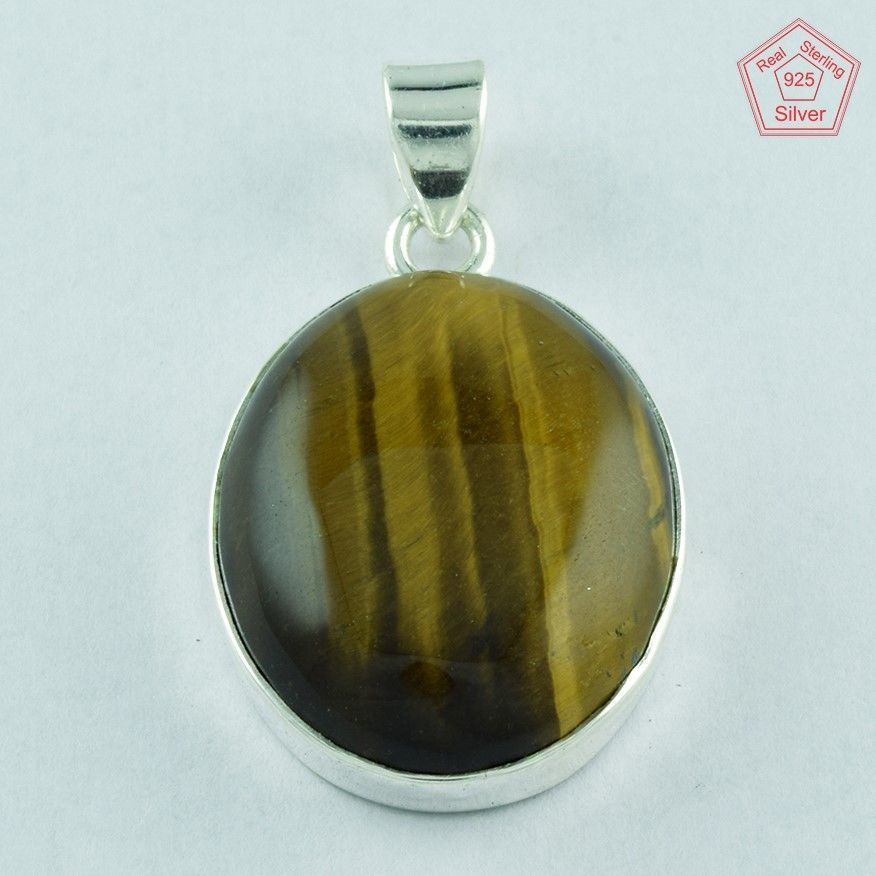 TIGER'S EYE STONE SOLID 925 STERLING SILVER PENDANT PN3671 #SilvexImagesIndiaPvtLtd #Pendant