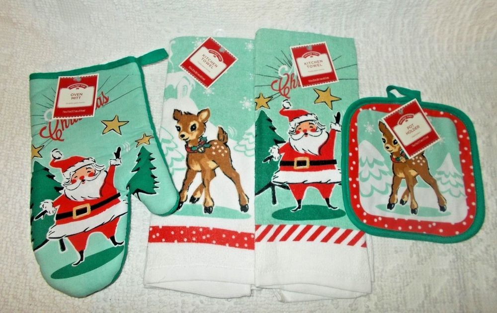 Holiday Time Retro Santa Deer Kitchen Towel Linen Set Walmart