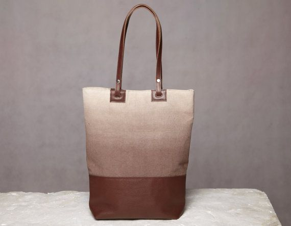 Ombre canvas tote bag. Cotton canvas and leatehr bag. by 5plus