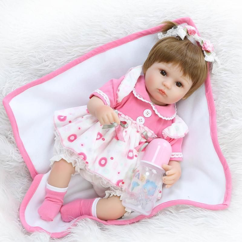 40cm Silicone Reborn Baby Doll kids Playmate Gift For Girls 16 Inch Baby  Alive Soft Toys For Bouquets Doll Bebe Reborn ea876ed2365