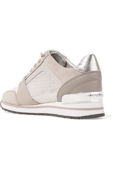 7d2d582b07f6 MICHAEL Michael Kors - Billie Leather And Suede-trimmed Mesh Sneakers -  Beige