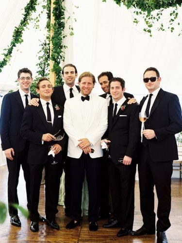 Groom With White Tux Top But Navy Tuxes