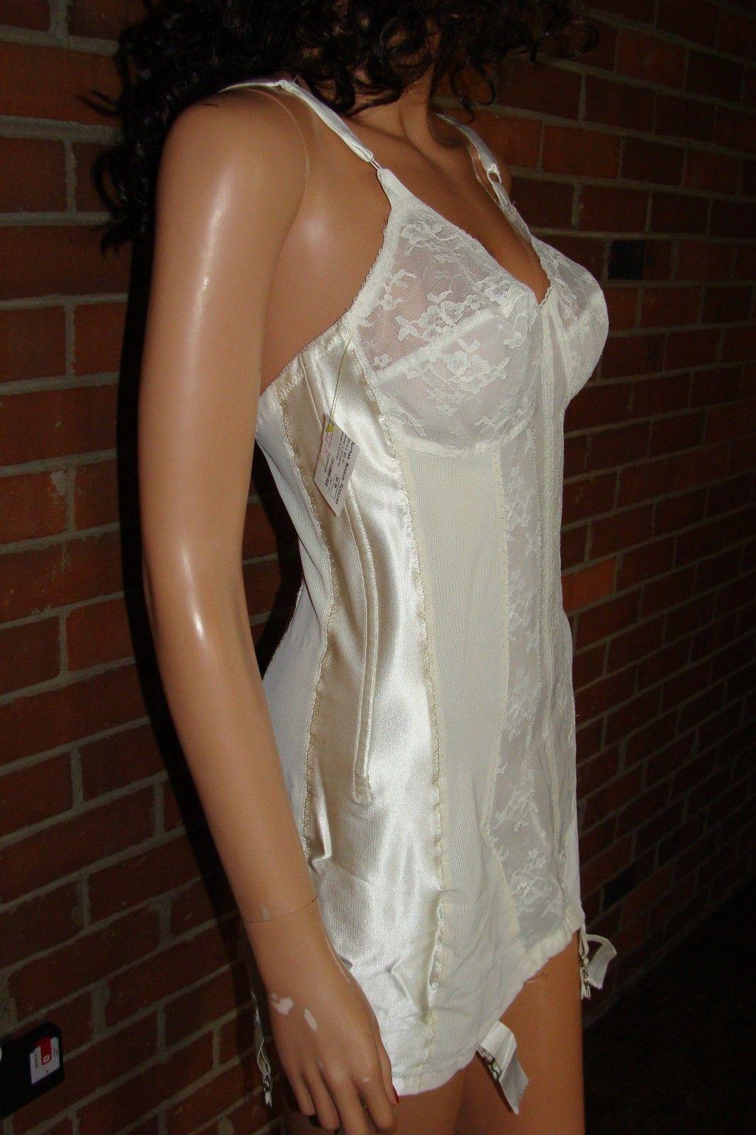 open bottom corset Vintage 1950's Flexees White Bullet Bra Corset-Style Open Bottom Rayon &  Lace Longline Girdle