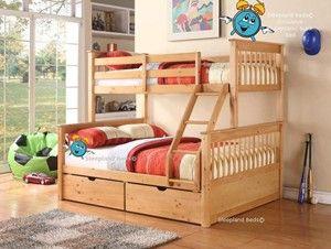 Pine Wooden Triple Sleeper Bunk Bed In Oak Triple Bunk Beds Wooden Bunk Beds Triple Sleeper Bunk Bed