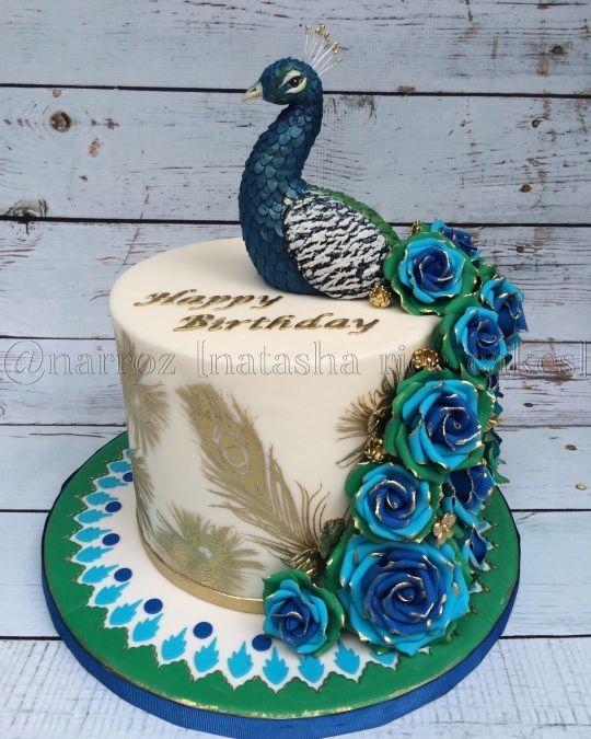 Peacock Feather Wedding Cake: Peacock Cake, Rose Cake, Peacock