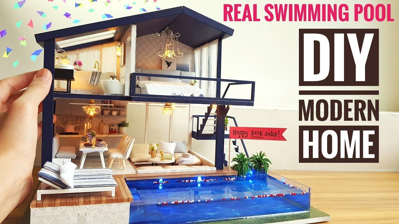 Diy Miniature Modern Party Home With Real Swimming Pool Youtube Modern Party Swimming Pools Diy Tiny House