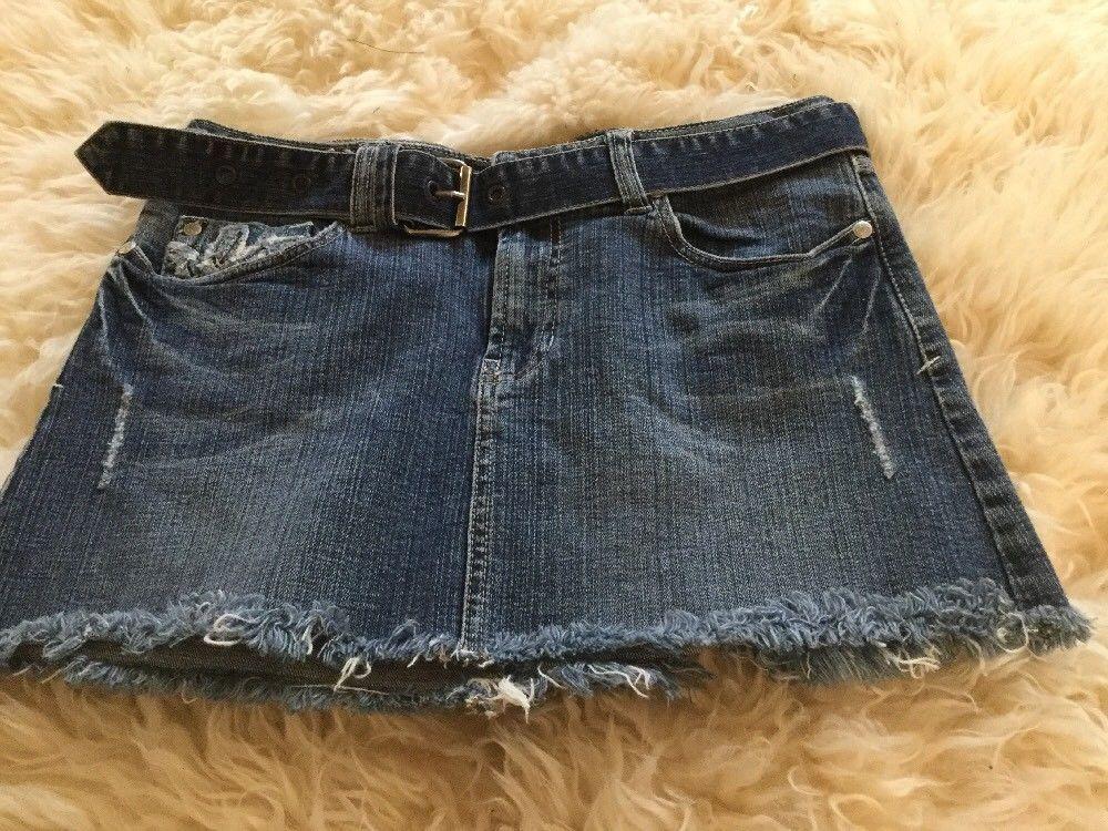 37e750333 Refuge Premium Jeans Skirt Jrs Sz 3 Denim Distressed Mini Skirt with Denim  belt   eBay