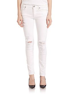 True Religion - Halle Mid-Rise Deconstructed Super-Skinny Jeans