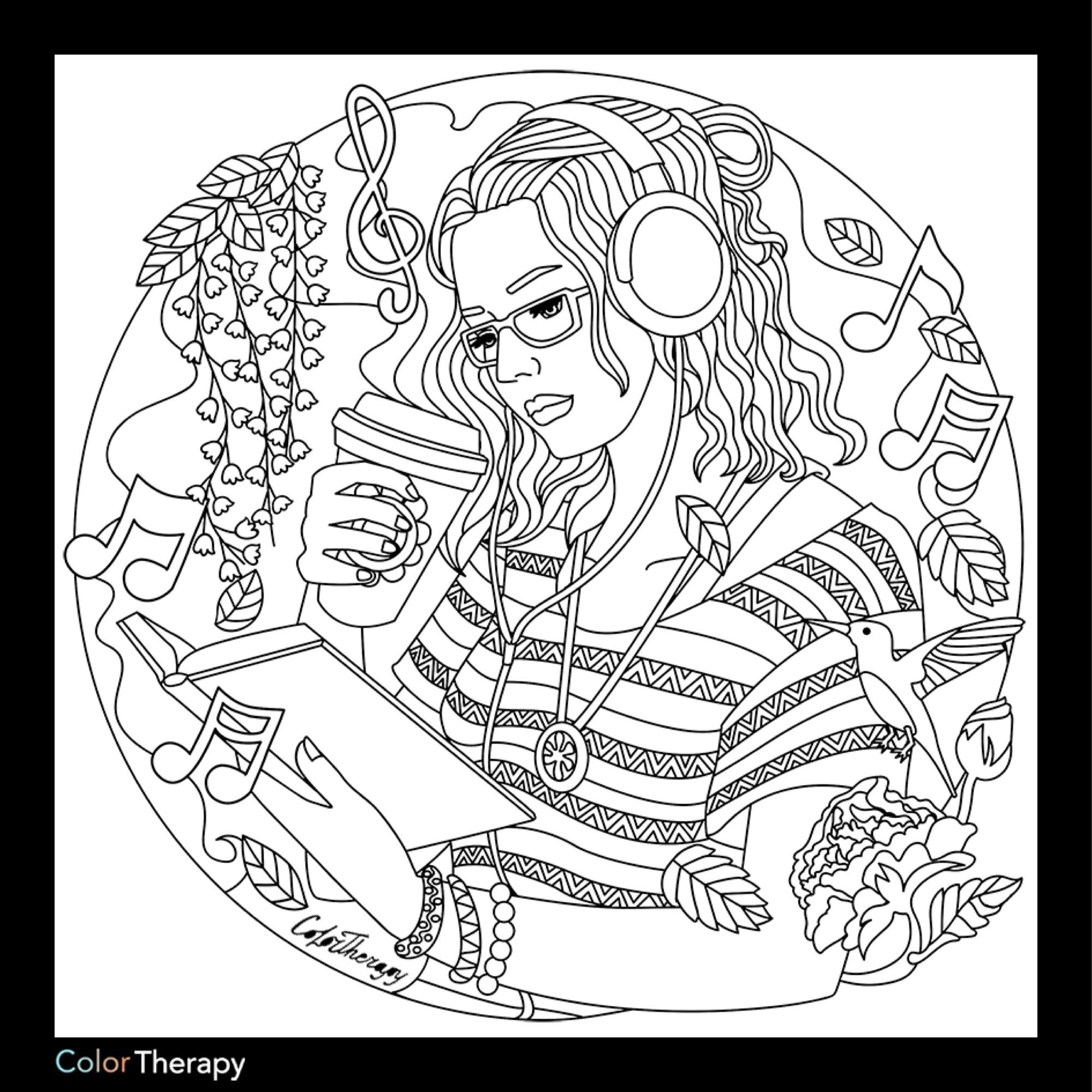 Coloring - Listening to music design · Paper CraftsCraft IdeasAdult  Coloring PagesColoring ...