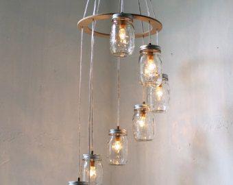 Lampadario Allaperto : Mason jar chandelier large rustic mason jar pendant lamp lighting