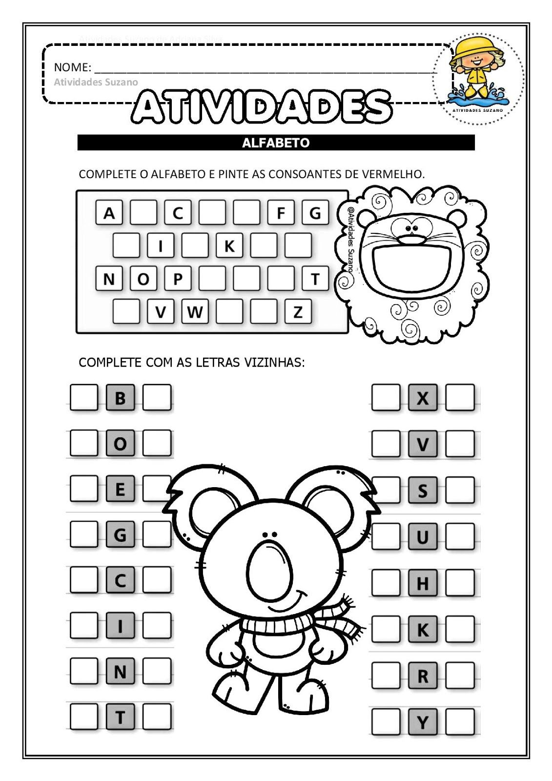 Alfabetizacao Alfabeto Letra Inicial Dos Desenhos E Consoantes