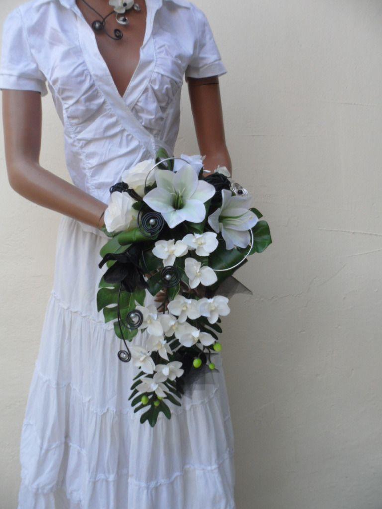 """bouquet de mariée en cascade - """"nina """" - noir blanc et argent"""