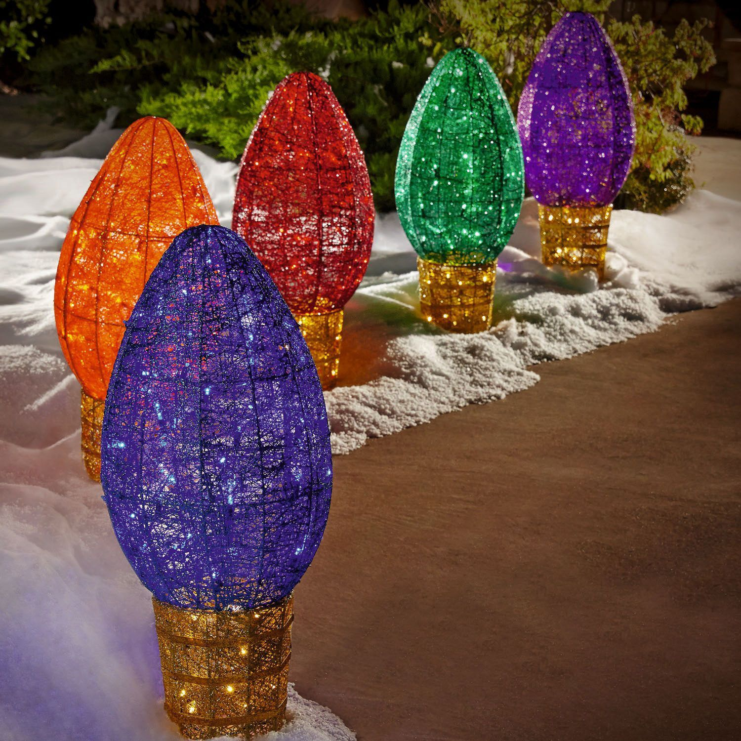 jumbo c9 outdoor light sculptures set of 5 sams club - Sams Club Christmas Decorations Outdoor