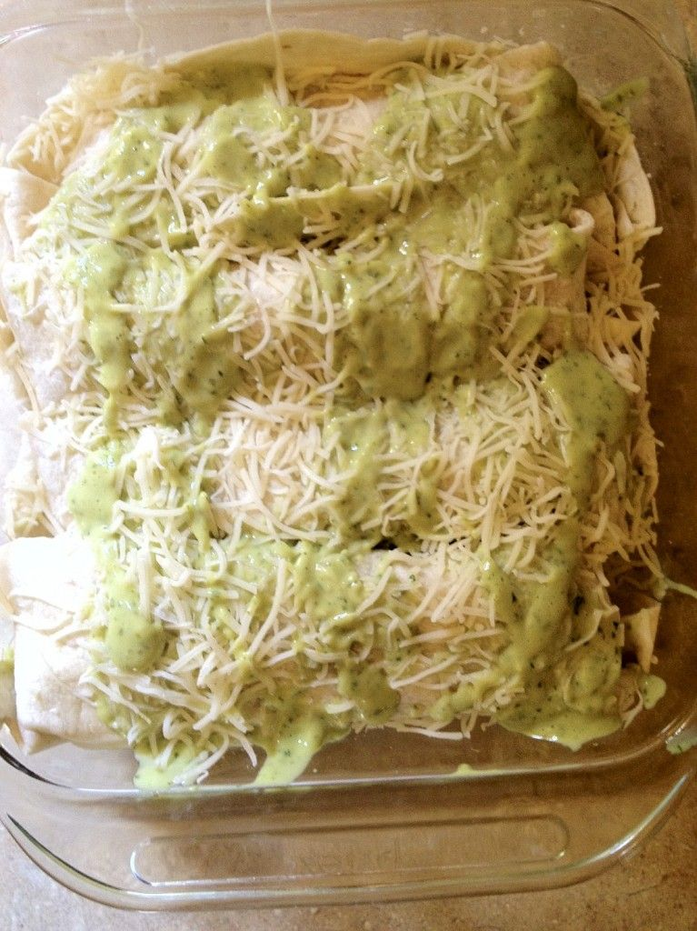 chicken enchiladas with avocado cream sauce! Original pinner says this sauce is AMAZING yum yum!