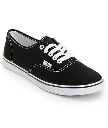 7162ab6a5b6293 I m SO ready to get a plain black pair. I m finally committing.  P Vans  Girls Authentic Lo Pro Black Shoe at Zumiez