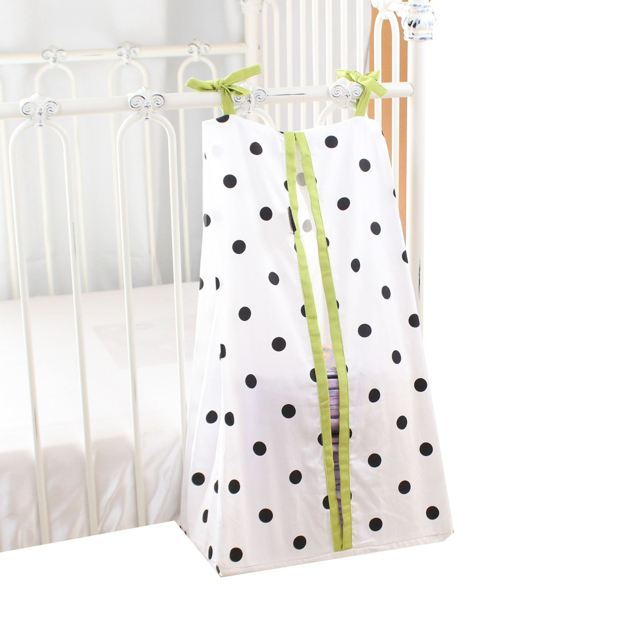 Diaper Stacker | Onyx Dots on White and Lime Edging