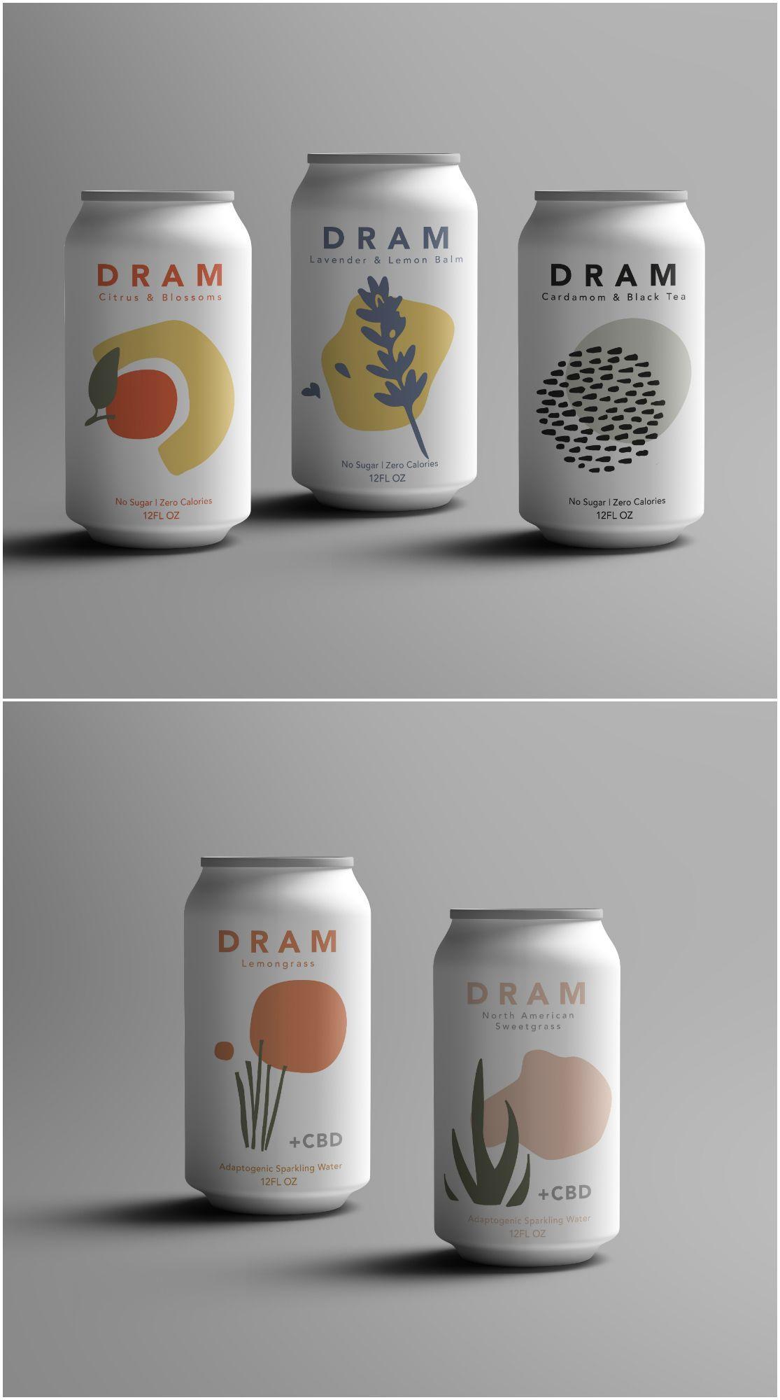Etikettendesign für sprudelndes CBD und Kräuterwasser - World Brand Design Society ,  #Brand ... #artdirection