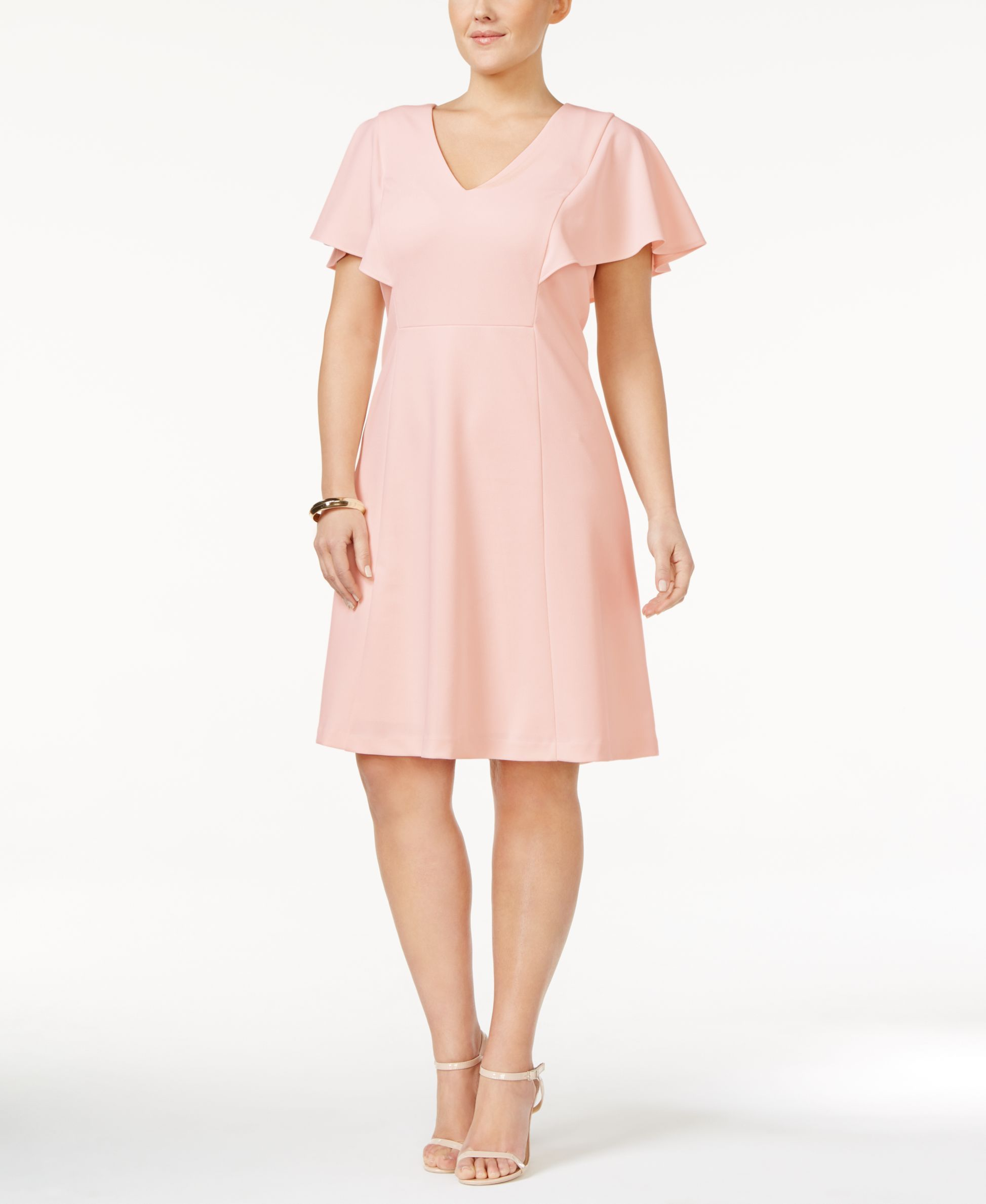 4389c5420c3 Calvin Klein Plus Size Flutter-Sleeve A-Line Dress