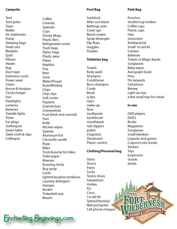Ft Wilderness Camping Packing List  This Is A Bit Excessive But