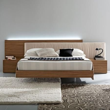Edge Walnut 3 Piece Bedroom Set Floating Bed Bedroom Bed