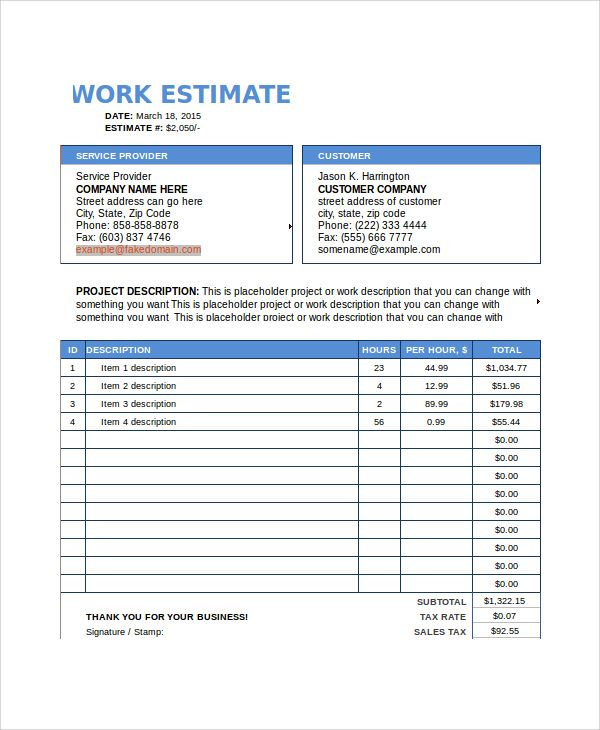 Free-Work-Estimate-Templatejpeg (600×730) estimate Pinterest - estimate template