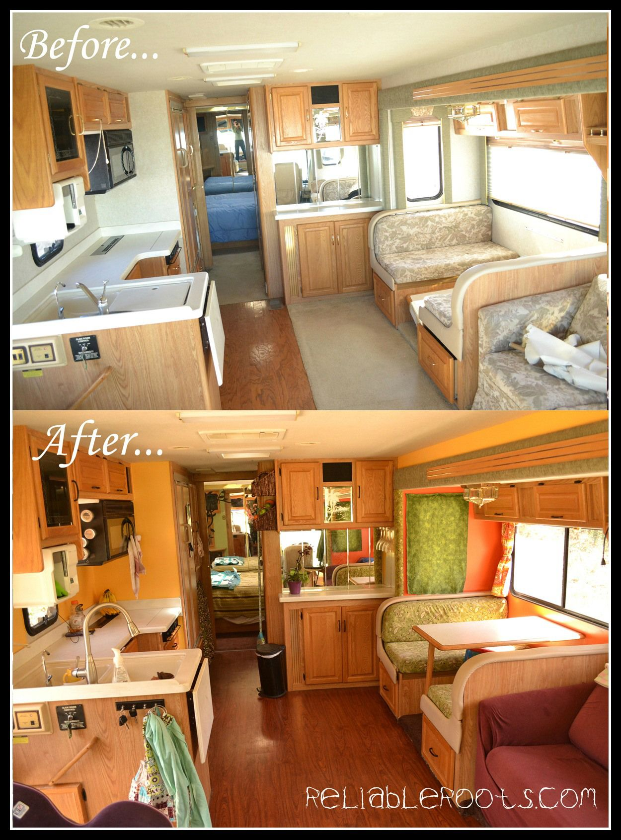 Simple Reno Paint Walls And New Upholstery Happy Camper Camper Makeover Remodeled Campers