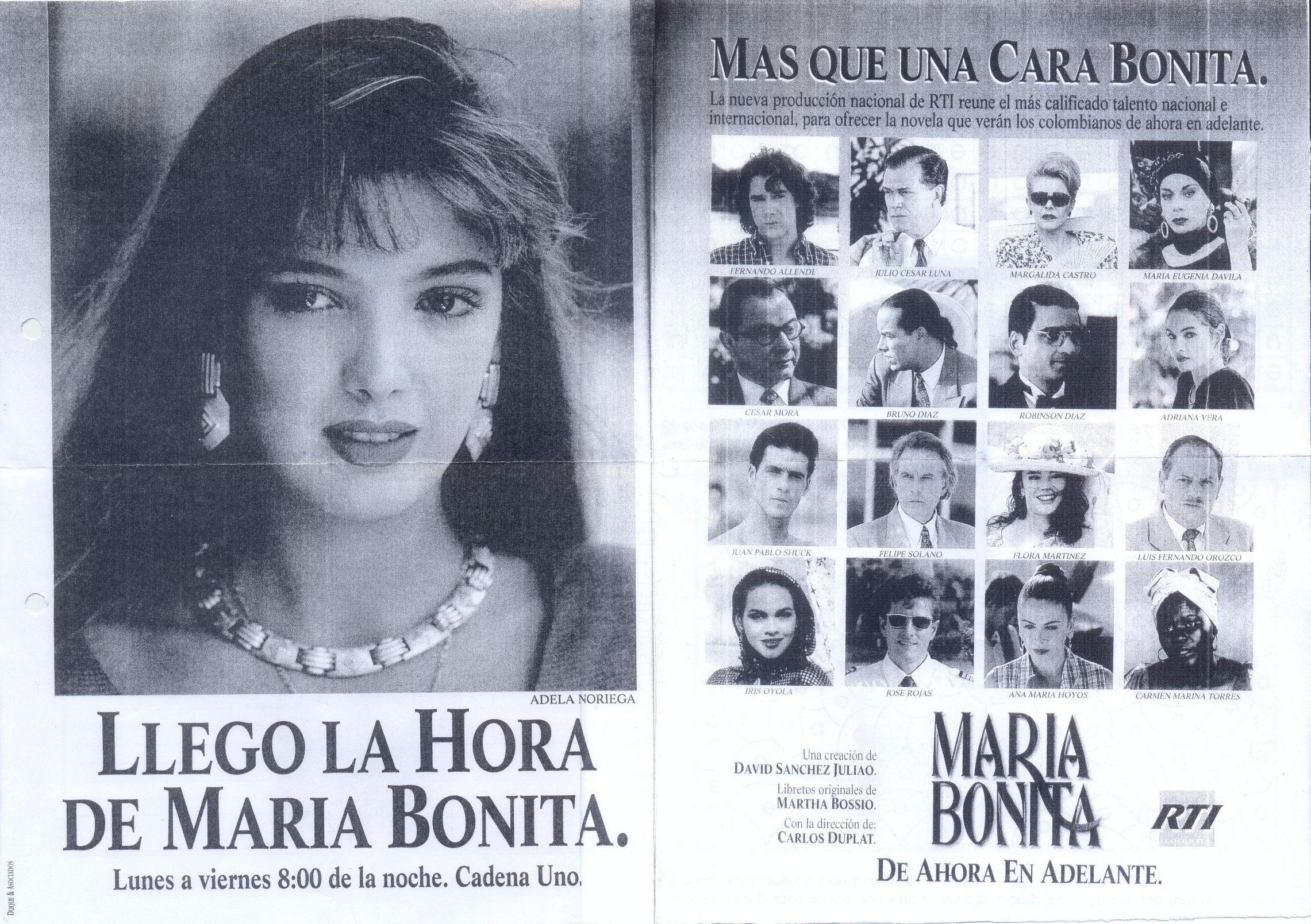 Maria Bonita Rti Television 1 1995 Fotocopia Cara Bonita Caras Bonita