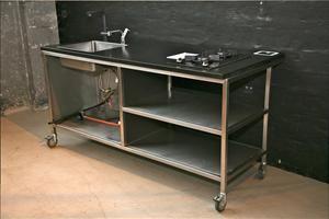 mobile k che gartenk che aus rostfreiem stahl und 30mm granit arbeitsplatte mit quooker und. Black Bedroom Furniture Sets. Home Design Ideas
