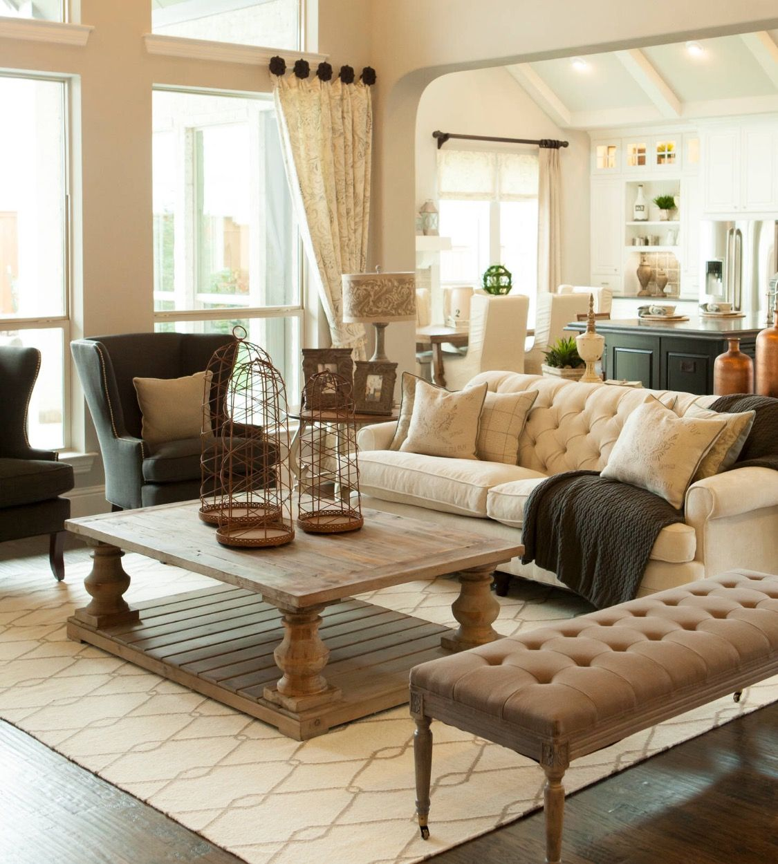 Neutral Living Room With Traditional Fireplace In 2019: For The New House In 2019