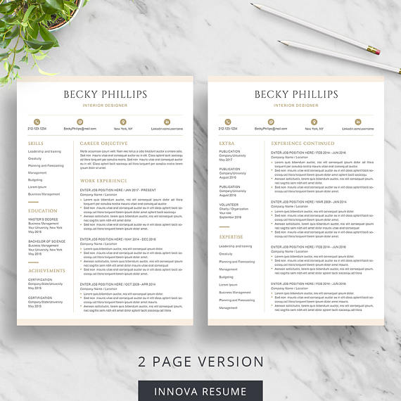 Modern Resume Template for Word Clean Resume Design Two Page