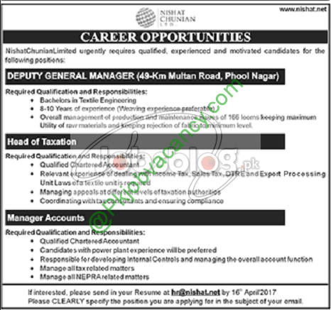 Nishat Chunian Limited Jobs 2017 Available For Manager, Head ...