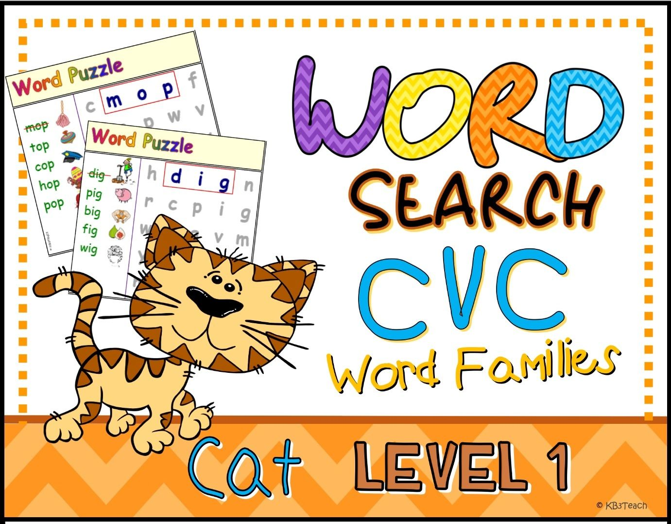Word Search Mini Cvc Puzzles Short Vowels Level 1