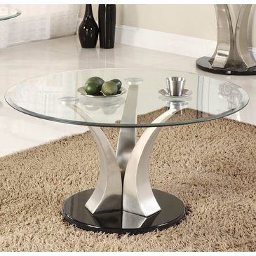 Charlaine Cocktail Table By Woodbridge Home Designs 430 80 Contemporary Style Round Glass Table Coffee Table Coffee Table With Stools Coffee Table Setting