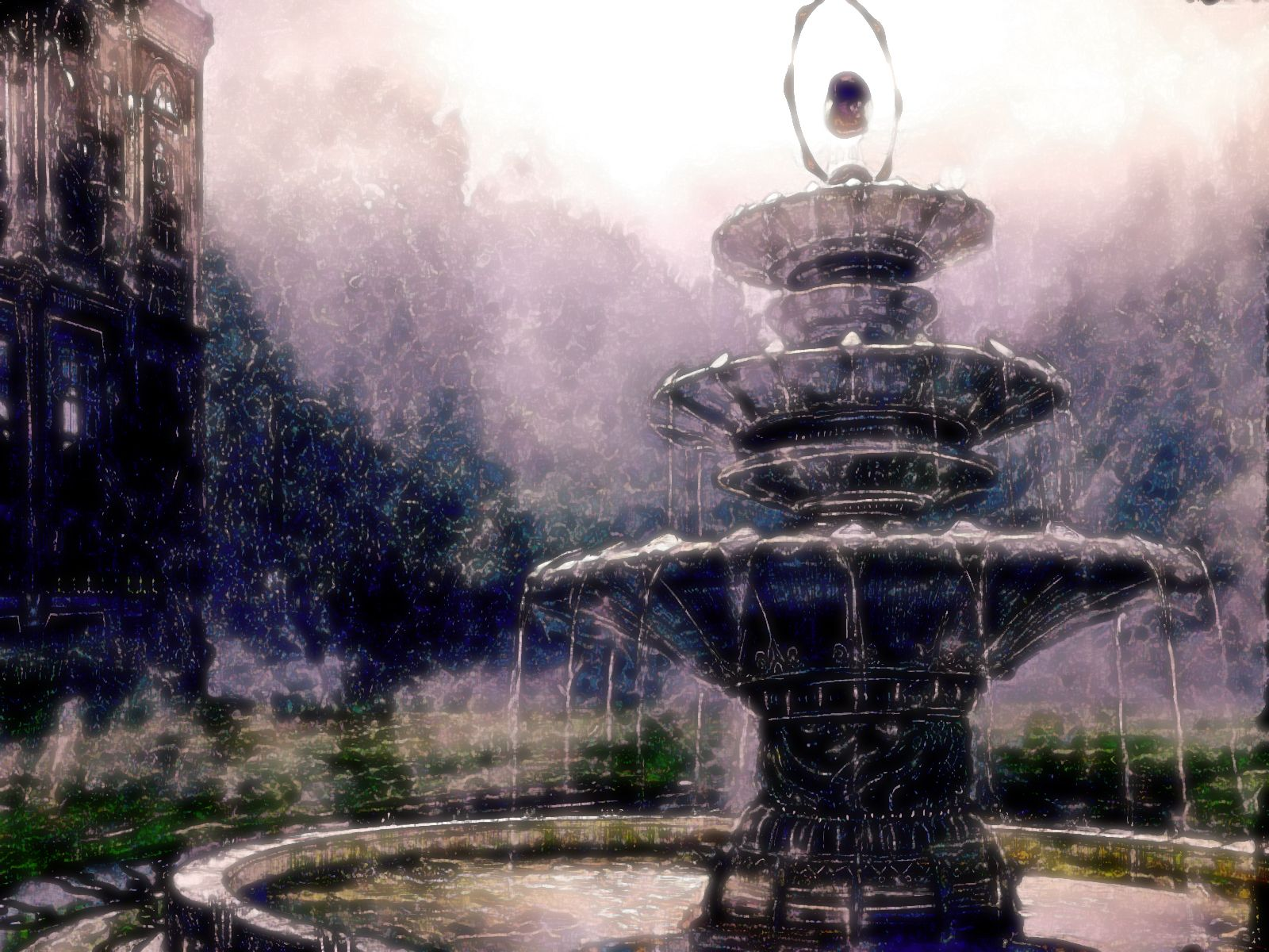 Fountain Watercolor