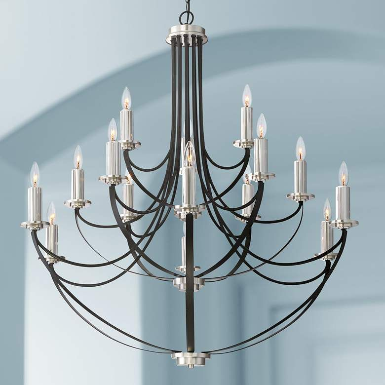 Quoizel Alana 41 W 3 Tier15 Light Mystic Black Chandelier 20g47