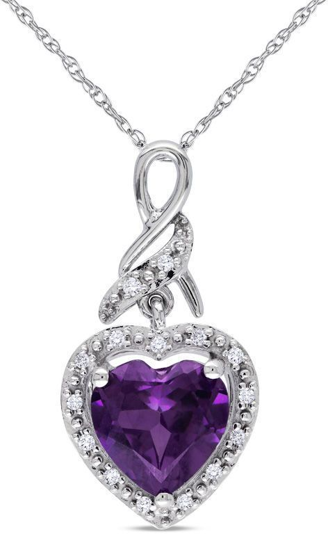 Zales 8.0mm Cushion-Cut Amethyst and Diamond Accent Frame Pendant in 10K Gold w40LkijDOs