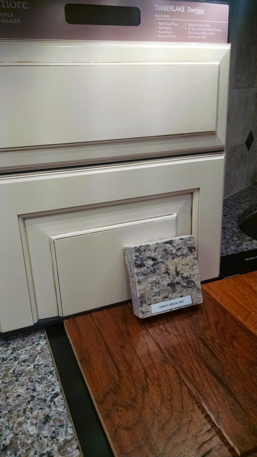 painted glaze hazelnut cabinets, st. cecilia light granite, and