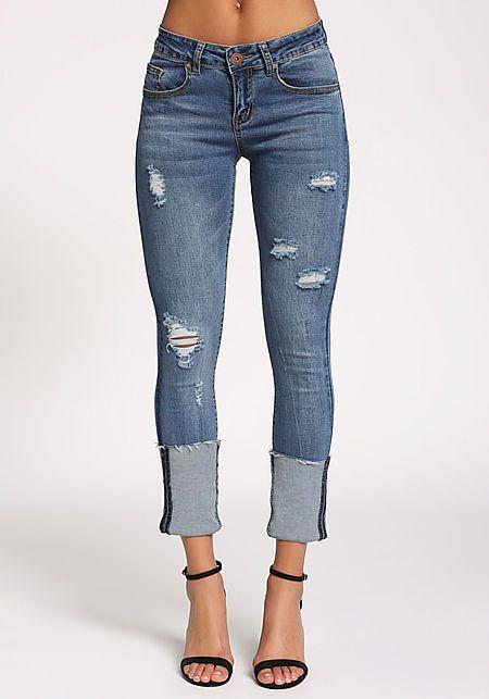 88f553ed4 Medium Denim Cuffed Low Rise Jeans | Clothes in 2019 | Jeans, Diy ...