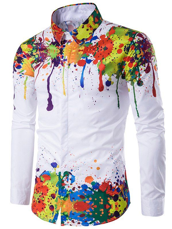 b8197770 Colorful Splatter Paint Pattern Turndown Collar Long Sleeve Shirt In White,Xl  | Twinkledeals.