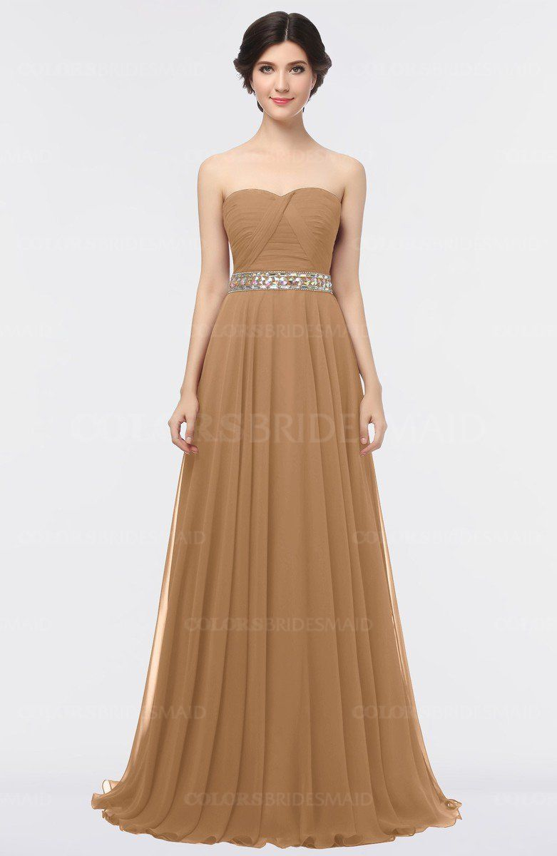 2bfe68c47d9 Light Brown Elegant A-line Strapless Sleeveless Half Backless Bridesmaid  Dresses is available at colorsbridesmaid.com. The A-line