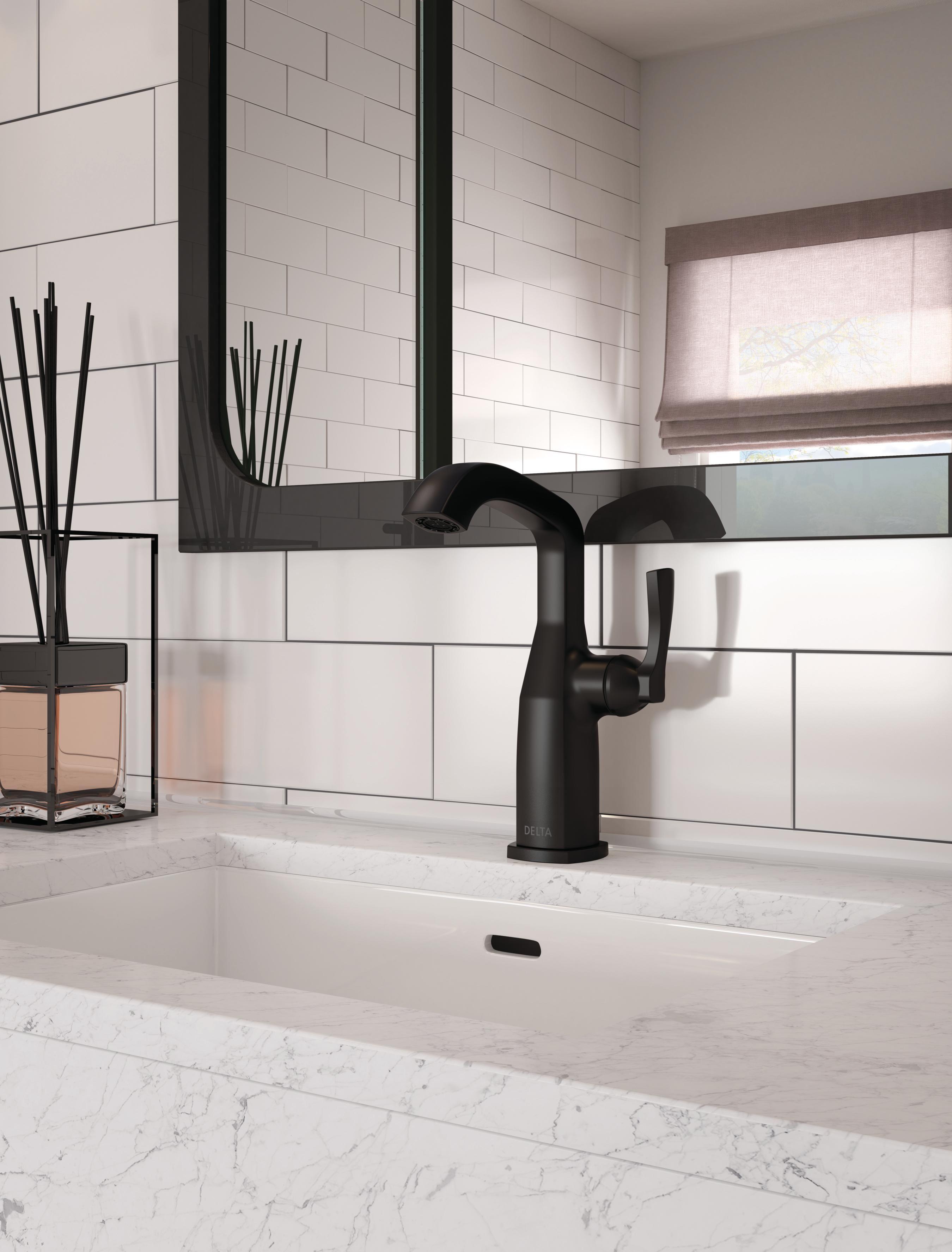 Black Bathroom Faucet Stryke Collection Delta Faucets Modern Faucet Modern Bathroom Faucets