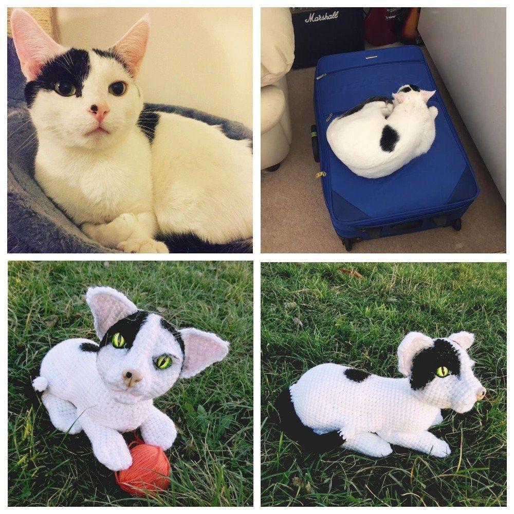 Custom stuffed cat from picture Pet loss gift Stuffed