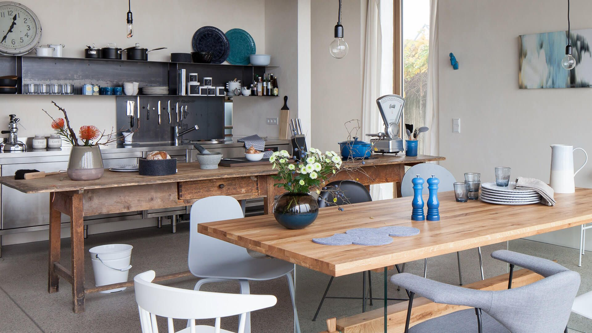 Werkbankartiger Tisch statt Kücheninsel | Rooms | Pinterest ...