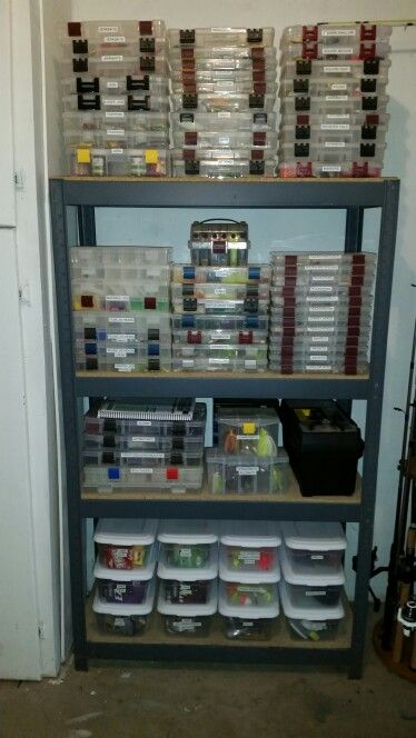 Fishing tackle storage bass fishing pinterest for Homemade fishing rod storage ideas