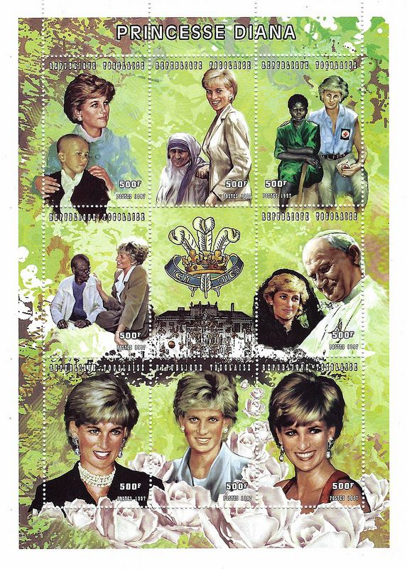 Princess Diana Postal Commemorative Sheet Issued By Togo, Diana - Princess Of Wales 1961 - 1997.