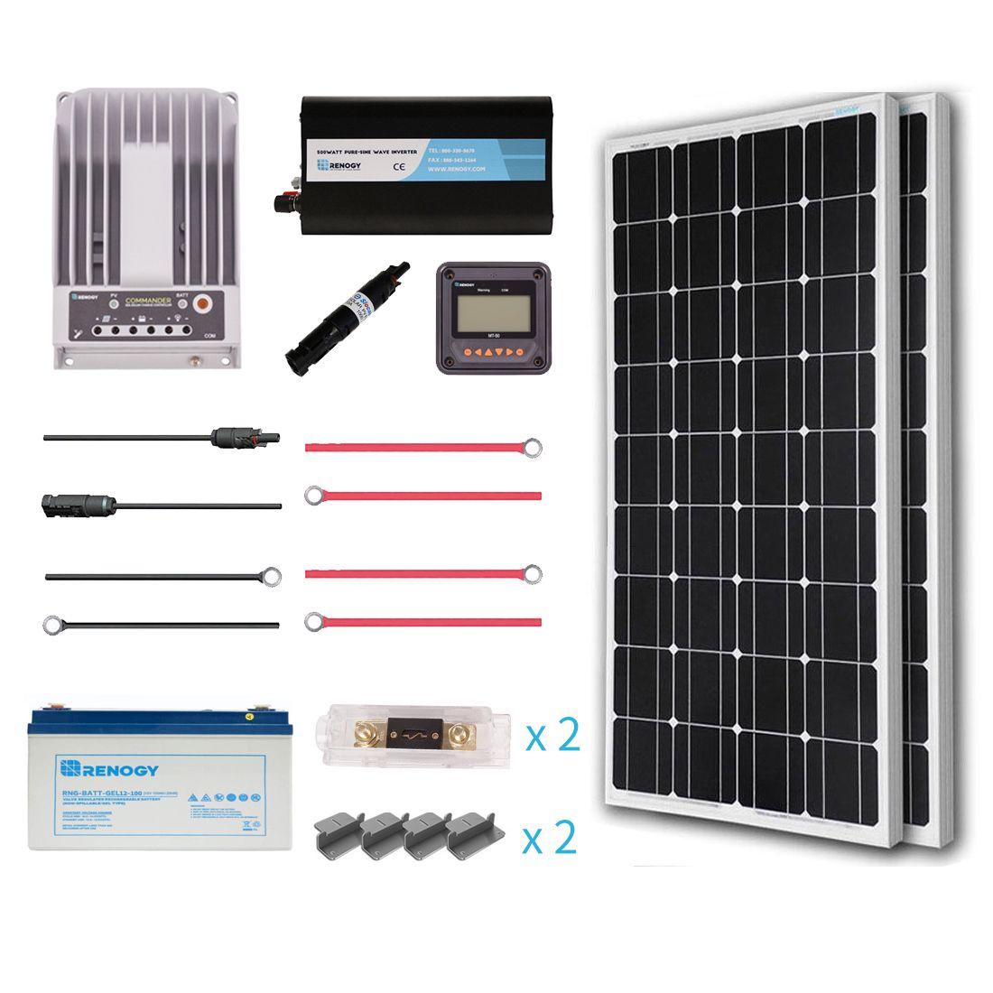 Renogy 200 Watt 12 Volt Complete Solar Premium Kit Solar Panel Installation Solar Panels 12v Solar Panel