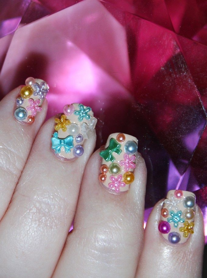 Spring has Sprung 3D Plastic Girly Nail Art with bows, pearls ...